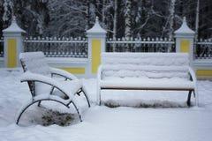 Χειμερινό καλυμμένο πάγκος χιόνι Στοκ εικόνες με δικαίωμα ελεύθερης χρήσης
