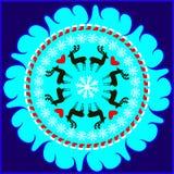 Χειμερινό κυκλικό σχέδιο  snowflakes  ελάφια Στοκ φωτογραφία με δικαίωμα ελεύθερης χρήσης