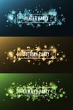 Χειμερινό κόμμα Κόμμα φθινοπώρου Θερινό κόμμα Υπόβαθρο των πολύχρωμων φω'των Έντονο φως bokeh Άσπρα, ορθογώνια εμβλήματα Άδεια πε Στοκ Εικόνα