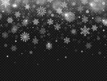 Χειμερινό μειωμένο χιόνι Snowflakes πτώση, snowflake διακοσμήσεων Χριστουγέννων και χιονισμένο απομονωμένο χιονοθύελλα διανυσματι ελεύθερη απεικόνιση δικαιώματος