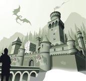 Χειμερινό μεσαιωνικό κάστρο Στοκ Εικόνα