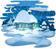 Χειμερινό μπλε σπίτι με το χιόνι Διανυσματική απεικόνιση