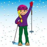 Χειμερινό να κάνει σκι γυναικών Στοκ Εικόνες