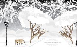 Χειμερινό πάρκο στο χρόνο βραδιού ουρανός santa του Klaus παγετού Χριστουγέννων καρτών τσαντών Στοκ Φωτογραφίες