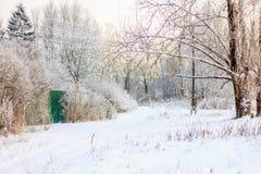 Χειμερινό παγωμένο ηλιόλουστο τοπίο Στοκ Εικόνες