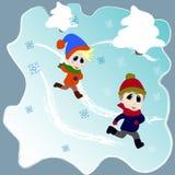 Χειμερινό παιχνίδι παιδιών Χρόνος χειμερινής διασκέδασης ελεύθερη απεικόνιση δικαιώματος