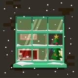 Χειμερινό παράθυρο επίσης corel σύρετε το διάνυσμα απεικόνισης Στοκ Εικόνες