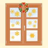 Χειμερινό παράθυρο με το διάνυσμα στεφανιών Χριστουγέννων Στοκ εικόνα με δικαίωμα ελεύθερης χρήσης