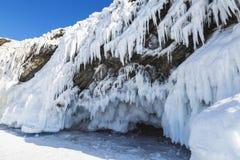 Χειμερινό παραμύθι στη λίμνη Baikal, ανατολική Σιβηρία στοκ εικόνες