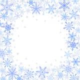 Χειμερινό πλαίσιο μπλε snowflakes στο άσπρο υπόβαθρο στοκ φωτογραφία με δικαίωμα ελεύθερης χρήσης