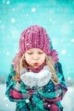 Χειμερινό πορτρέτο ενός όμορφου μικρού κοριτσιού στοκ εικόνες