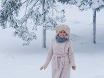 Χειμερινό πορτρέτο μιας γυναίκας στο άσπρο παλτό κατά τη διάρκεια των χιονοπτώσεων σε ένα πάρκο Στοκ εικόνες με δικαίωμα ελεύθερης χρήσης