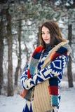 Χειμερινό πορτρέτο της γοητείας του κοριτσιού Στοκ Εικόνες