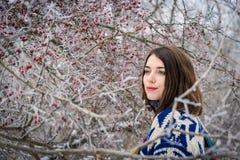 Χειμερινό πορτρέτο της γοητείας του κοριτσιού Στοκ Φωτογραφίες