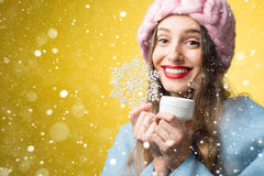 Χειμερινό πορτρέτο της γυναίκας με την του προσώπου κρέμα Στοκ Εικόνα