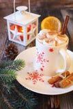 Χειμερινό ποτό: φλυτζάνι της καυτής σοκολάτας με marshmallow Στοκ Εικόνες