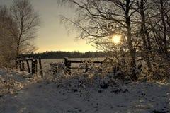Χειμερινό πρωί σε Teufelsmoor κοντά στη Βρέμη Γερμανία Στοκ φωτογραφία με δικαίωμα ελεύθερης χρήσης