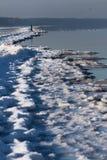 Χειμερινό πρωί στην ακτή του Κόλπου της Ρήγας Jurmala, Λετονία Στοκ φωτογραφία με δικαίωμα ελεύθερης χρήσης