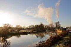Χειμερινό πρωί στο κανάλι σκαφών του Έξετερ στοκ εικόνες