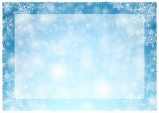 Χειμερινό πλαίσιο Χριστουγέννων - απεικόνιση Άσπρο μπλε Χριστουγέννων - κενό τοπίο πλαισίων Στοκ Εικόνες