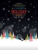 Χειμερινό πλαίσιο Χριστουγέννων - απεικόνιση Μαύρη φύση καρτών Χριστουγέννων - κενό πορτρέτο Στοκ φωτογραφίες με δικαίωμα ελεύθερης χρήσης
