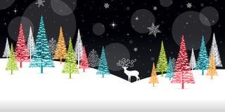 Χειμερινό πλαίσιο Χριστουγέννων - απεικόνιση Μαύρη φύση καρτών Χριστουγέννων - κανένα τοπίο κειμένων Στοκ εικόνες με δικαίωμα ελεύθερης χρήσης