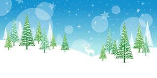 Χειμερινό πλαίσιο Χριστουγέννων - απεικόνιση Φύση καρτών Χριστουγέννων - κανένα τοπίο κειμένων Στοκ Φωτογραφίες