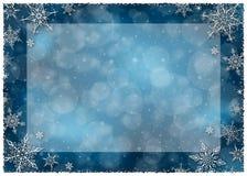 Χειμερινό πλαίσιο Χριστουγέννων - απεικόνιση Χριστούγεννα σκούρο μπλε - κενό τοπίο πλαισίων Στοκ Φωτογραφίες