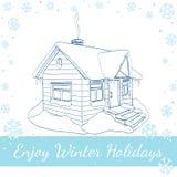 Χειμερινό σπίτι Διανυσματική απεικόνιση στο λευκό Στοκ εικόνες με δικαίωμα ελεύθερης χρήσης