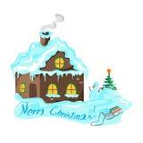Χειμερινό σπίτι με ένα χριστουγεννιάτικο δέντρο και έναν χιονάνθρωπο Στοκ Φωτογραφίες