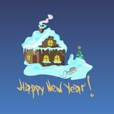 Χειμερινό σπίτι με ένα χριστουγεννιάτικο δέντρο και έναν χιονάνθρωπο Στοκ φωτογραφίες με δικαίωμα ελεύθερης χρήσης