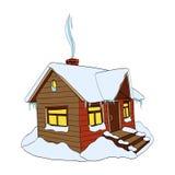Χειμερινό σπίτι Hand-drawn διανυσματική απεικόνιση στο λευκό Στοκ εικόνα με δικαίωμα ελεύθερης χρήσης