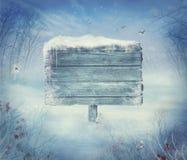 Χειμερινό σχέδιο - κοιλάδα Χριστουγέννων με το σημάδι Στοκ φωτογραφίες με δικαίωμα ελεύθερης χρήσης