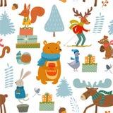 Χειμερινό σχέδιο με τα ζώα χαρακτηρών κινουμένων σχεδίων άνευ ραφής διάνυσμα σύστα&sigma διανυσματική απεικόνιση