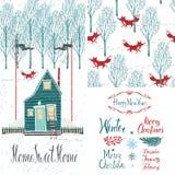 Χειμερινό σύνολο εγχώριων γλυκό σπιτιών ελεύθερη απεικόνιση δικαιώματος