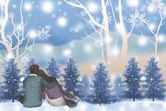 Χειμερινό ταξίδι με την υπόσχεση της αγάπης - γραφική σύσταση ζωγραφικής διανυσματική απεικόνιση
