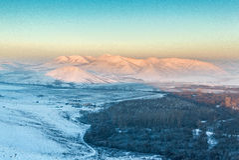 Χειμερινό τοπίο βουνών Στοκ Εικόνα