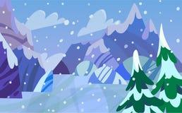 Χειμερινό τοπίο βουνών Στοκ Εικόνες