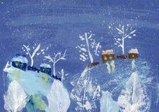 Χειμερινό τοπίο ζωγραφικής γκουας Στοκ φωτογραφία με δικαίωμα ελεύθερης χρήσης