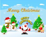 Χειμερινό τοπίο με Άγιο Βασίλη και το Rudolph το κόκκινο μυρισμένο ηνίο διανυσματική απεικόνιση