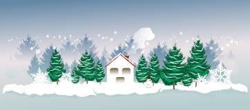 Χειμερινό τοπίο με ένα σπίτι, fir-trees και snowflakes απεικόνιση αποθεμάτων