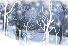 Χειμερινό τοπίο με τα ήρεμα ξύλα - γραφική σύσταση ζωγραφικής ελεύθερη απεικόνιση δικαιώματος