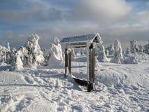 Χειμερινό τοπίο με τα σημάδια Στοκ Εικόνα