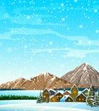 Χειμερινό τοπίο με τα σπίτια και τα βουνά Ελεύθερη απεικόνιση δικαιώματος