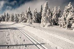 Χειμερινό τοπίο με την έτοιμη ανώμαλη να κάνει σκι διαδρομή, τα παγωμένους δέντρα και το μπλε ουρανό με τα σύννεφα Στοκ Φωτογραφίες