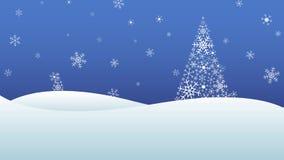 Χειμερινό τοπίο με τις χιονοπτώσεις και δέντρα φιαγμένα από snowflakes ελεύθερη απεικόνιση δικαιώματος