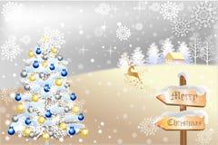 Χειμερινό τοπίο με τον αφηρημένο τάρανδο - διανυσματικό eps10 διανυσματική απεικόνιση