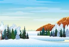 Χειμερινό τοπίο με το δάσος και τα βουνά Διανυσματική απεικόνιση