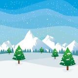 Χειμερινό τοπίο με το χιονώδες σχέδιο τοπίου απεικόνιση αποθεμάτων