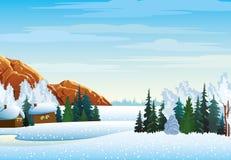 Χειμερινό τοπίο με το χωριό, δάσος Διανυσματική απεικόνιση